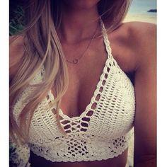 white crochet bralete top