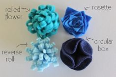 felt flowers - I love the rolled for birthday presents