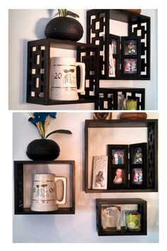Shelves of past and present pictures or objects that you want as a frequent reminder of great memories!