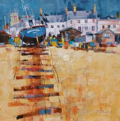 Up the Beach, Aldeburgh by British Contemporary Artist Chris FORSEY Abstract Landscape Painting, Watercolor Landscape, Landscape Art, Landscape Paintings, Landscapes, Watercolor Painting Techniques, Acrylic Paintings, Oil Paintings, Sailboat Art