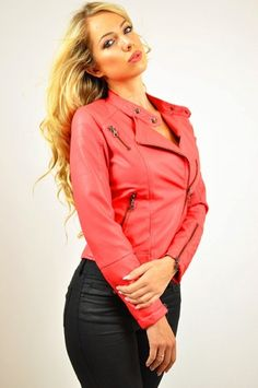 #SH010 CORAL Double Collar Leatherette Jacket. Fully Lined.