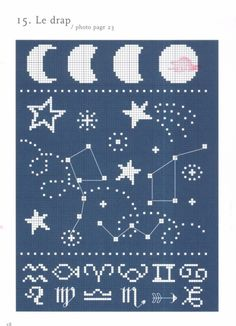 free constellation cross stitch pattern big dipper, little dipper, moon, and shooting stars