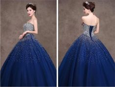 2015 Royal Blue Quinceanera Dresses Ball Gowns Strapless Lace-up