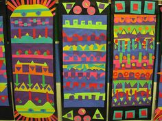 Crazy-Cut Paper   Each line from top to bottom presents a different repeat pattern with contrasting/complimentary colors. By v. k. bowerman.