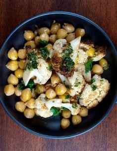 Roasted Cauliflower with Braised Chickpeas and Salsa Verde