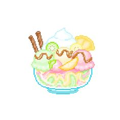 Discover and share the most beautiful images from around the world Pixel Art Food, Anime Pixel Art, Cute Kawaii Drawings, Kawaii Doodles, Kawaii Cross Stitch, Pixel Drawing, Kawaii Illustration, Universe Art, Cute Chibi