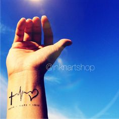 FAITH LOVE HOPE heartbeat tattoo InknArt Temporary by InknArt, $4.99