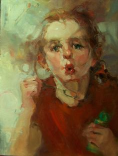 """""""Blowin' In The Wind"""" Kim Roberti's 6x8 Contemporary Realism Figure Portrait of a Child Blowing Bubbles., painting by artist Kim Roberti"""