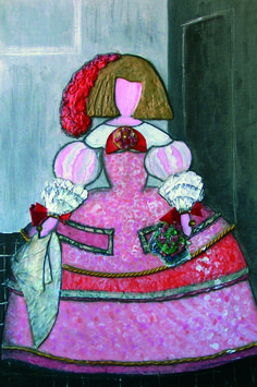 INFANTA MARGARITA II  acrílico, papel, tela y otros sobre lienzo 65x55 cm  Versiones de cuadros de la última etapa de Velázquez como pintor de la corte de Felipe IV. Realizados con varias técnicas y materiales (acrílico, papel maché, collage, arenas, etc)