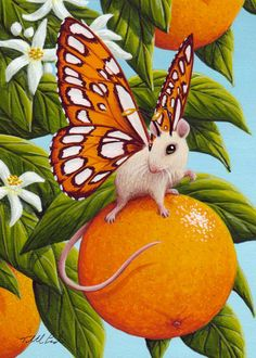 Fantasy & Sci fi art by Tabitha Ladin Butterfly Art, Butterflies, Fantasy Creatures, Mythological Creatures, Sci Fi Art, Orange Blossom, Surreal Art, Painting For Kids, Pattern Art