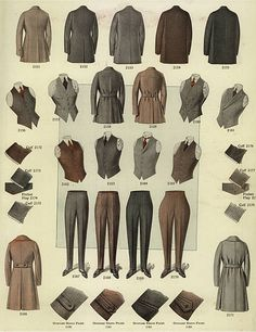 Men's fashions from the including overcoats, vests, waistcoats, trousers and spats and details of cuffs. Chromolithograph from a catalog of male winter fashions from Bruner Woolens, Supernatural Style Look Fashion, Winter Fashion, Fashion Design, Vintage Outfits, Vintage Fashion, 1920s Fashion Male, Men Fashion, Edwardian Fashion, Fashion Outfits