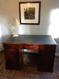 19th C. Mahogany Partners Desk HUTCHISONANTIQUES.COM