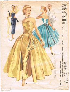 50s Evening cocktail gown dress full skirt overskirt column dress sheath gold black blue strapless illustration vintage fashion style McCalls 3439 Vintage 1950s Sewing Pattern by HappyIFoundIt, $81.50