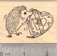 Valentines Day Hedgehog Rubber Stamp with Heart box of Candy >>> Read more  at the image link.