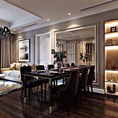 Más ideas - Moreideas Tv Wall Decor, Dining Room Wall Decor, Living Room Mirrors, Dining Room Design, Lounge Mirrors, Elegant Dining Room, Apartment Interior, Modern Room, Home Decor Furniture
