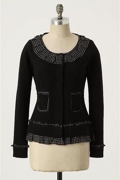 NWOT ANTHROPOLOGIE AU FAIT BOUCLE BLACK SWEATER CARDIGAN by SPARROW M #Sparrow #Cardigan