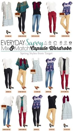 Fun Spring Target Capsule Wardrobe updated for 2018. Casual and cute mix and match outfits that are fun and frugal. #target #capsulewardrobe