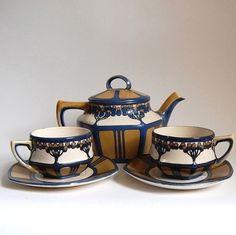 Tea Set RARE Mettlach Villeroy & Boch Art Nouveau Home Decor Tableware Antique Jugendstil Etched Stoneware Art Pottery Wedding Gift, c.1900