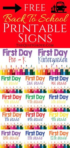 Free First day of School Printable signs. Pre-k, Kindergarten, 1st grade- 12th Grade. Color Pencil themed.Ready to print, frame and use for back to school photos.