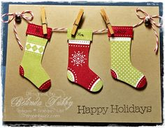 Sweet Christmas stockings on a line, made using the Stitched Stocking stamp set from Stampin' Up! Christmas Card Crafts, Homemade Christmas Cards, Handmade Christmas Gifts, Christmas Cards To Make, Xmas Cards, Diy Cards, Homemade Cards, Holiday Cards, Christmas Stockings