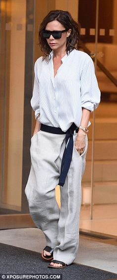 The karate kid: Victoria Beckham proved she knows how to push the style stakes as she stepped out in New York on Sunday sporting a loose-fitting karate-inspired ensemble ahead of her fashion show
