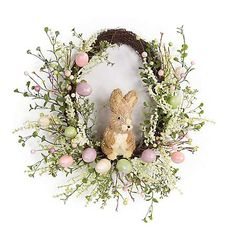 Easter fun will come hopping to your home when you display the Melrose International 22 in. Egg and Rabbit Wreath in an indoor or covered outdoor area. Spring Door Wreaths, Easter Wreaths, Deco Floral, Diy Wreath, Spring Crafts, Easter Crafts, Easter Decor, Melrose International, Outdoor Wreaths