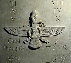 Faravahar. One of the best-known symbols of Zoroastrianism, the state religion of ancient Iran