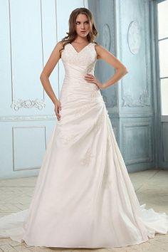 Ivory Taffeta V-Neck Bridal Dress - Order Link: http://www.theweddingdresses.com/ivory-taffeta-v-neck-bridal-dress-twdn0535.html - Embellishments: Applique , Beading , Sequin; Length: Chapel Train; Fabric: Taffeta; Waist: Natural - Price: 172.37USD