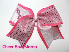 Shiny Breast Cancer Awareness Cheer Bow by Cheer Bow Mama
