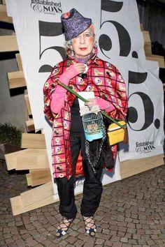 Anna Piaggi at the Stella McCartney and Established & Sons party at the 2009 Milan International Furniture Fair.