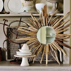 Sunburst Mirrors Made with Driftwood: http://www.completely-coastal.com/2011/03/sunburst-mirrors.html