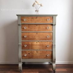 This dresser was brought back to life thanks to Katie & Co. Furniture Restorations! Restored with GF Empire Gray Chslk Style Paint.  See more projects refinished with GF Chalk Style Paint at http://bit.ly/2dFjZ3m.