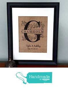 Curly Monogrammed Burlap Print - Personalized Family Name Wall Decor - Wedding Gifts - Anniversary Gift from Bailemor