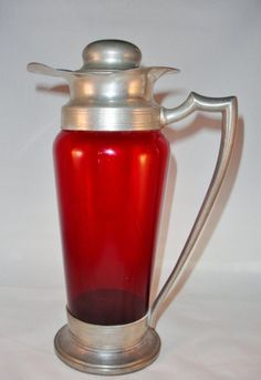 Vintage Depression Era Ruby Glass Cocktail Shaker with Pewter Mounts