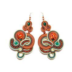 Soutache earrings orange green beige jewelry handmade shop gift for sale to buy orecchini pendientes oorbellen Ohrringe brincos örhängen by SoutacheFlowOn on Etsy