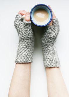 Knit fingerless mitts, grey merino wool -- Pubnico Point wristwarmers
