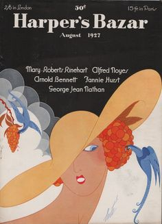 Harper's Bazaar cover by Erté, 1927 Sea Costume, Romain De Tirtoff, Fashion Magazine Cover, Any Book, Harpers Bazaar, French Artists, Belle Epoque
