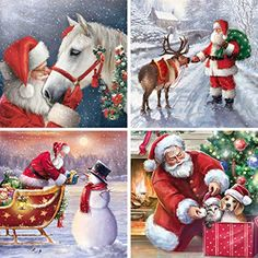 DIY Crystal Craft Full Drill Cross Stitch Decoration Kaliosy 5D Diamond Painting The Moon and Snow Christmas Santa Claus by Number Kits Paint with Diamonds Art for Adults 12x16inch