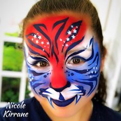 by Silly Heather Tiger Face Paints, Mask Face Paint, Animal Face Paintings, Animal Faces, 4th Of July Celebration, Fourth Of July, Face Painting Designs, Paint Designs, Let Freedom Ring