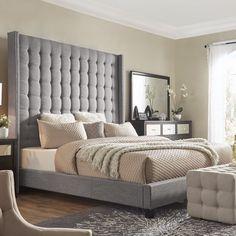Seeking for Luxullian Button Tufted Platform Bed Upholstered Platform Bed, Upholstered Beds, Tufted Bed, Home Decor Bedroom, Master Bedroom, Bedroom Ideas, Bedroom Bed, Bedroom Inspiration, Wingback Headboard