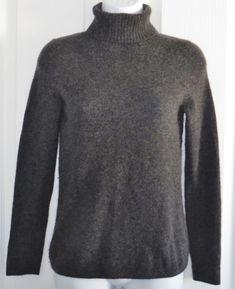 Ann Taylor Factory Petites Cashmere Sweater Size XSP Dark Gray Turtleneck #AnnTaylor #TurtleneckMock