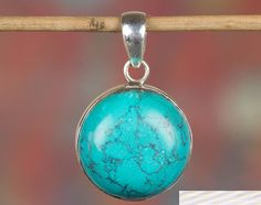 Silver Pendants – Turquoise Pendant, 925 Silver Pendant, Round Shape – a unique product by Midas-Jewelry on DaWanda