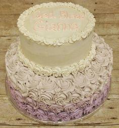 Lavendar Rosette Baptism Cake