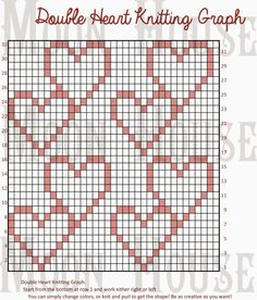 Chart,knitting,heart,doublehearts,heart,hart,dbl heart,dbl hrt,houble heart, crochet, knit, crochet, pink, valentines, graph