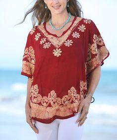 Look what I found on #zulily! Burgundy Cape-Sleeve Tunic - Women #zulilyfinds