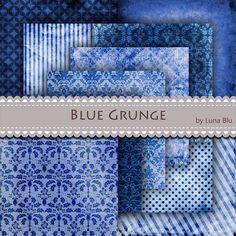 Blue Digital Paper Blue Grunge Textures with damasks by Lunabludesign, $4.75