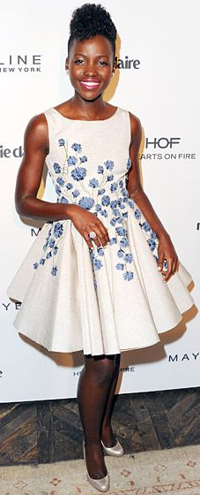 She does it again! Lupita Nyong'o is flirty in a Giambattista Valli fit-and-flare dress at the Marie Claire Fresh Faces Party