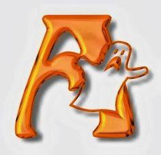 Alfabeto de Halloween con letras color naranja.