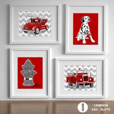 Fireman Nursery Art Fire Fighter Decor Fire Truck by PaperLlamas