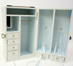 Refurbished Doll Trunk (carrying case & wardrobe)